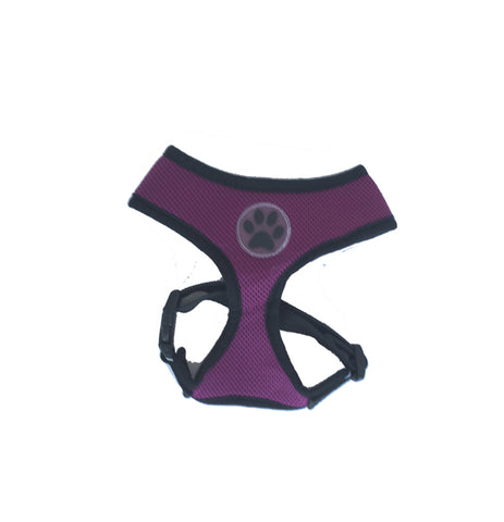 Purple Paw Print Mesh Harness