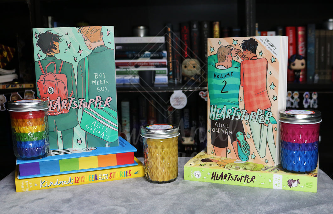 PRE-ORDER | Heartstopper 3 pack! | Alice Oseman | 200mL Soy Wax Candle | Bisexual Pride Flag