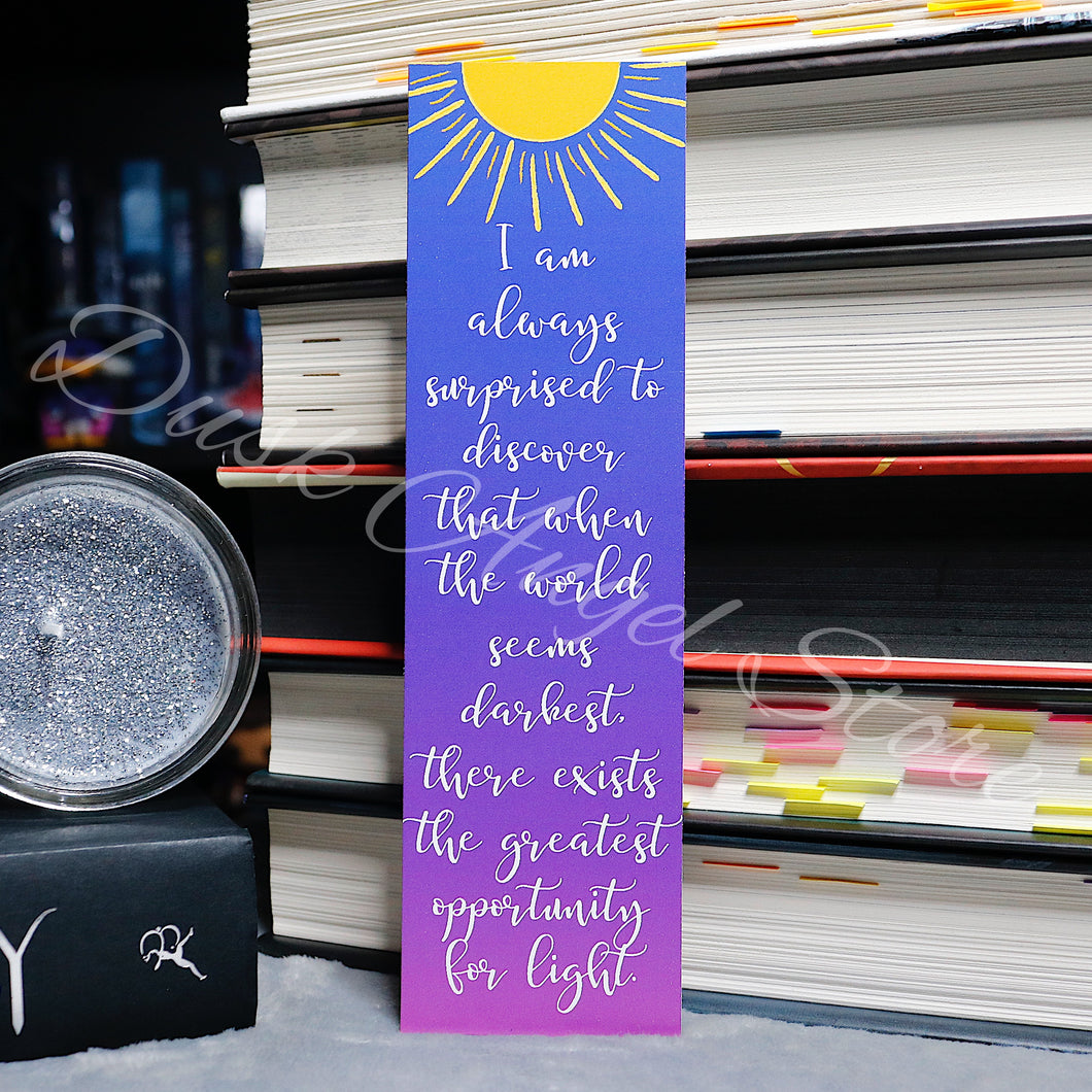 Greatest Opportunity for Light | A Curse So Dark and Lonely | Quote Bookmark