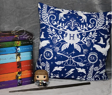 Load image into Gallery viewer, Blue Wizarding Icons Cushion Cover