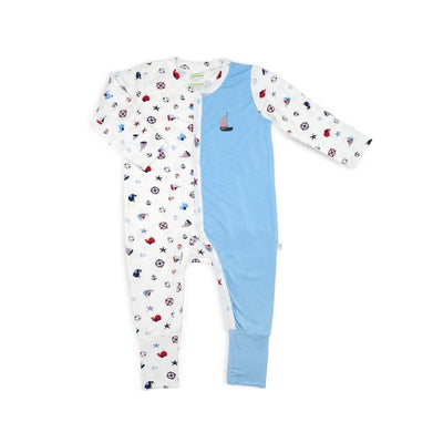 Nautical - Long-sleeved Button Sleepsuit with Folded Mittens & Footie