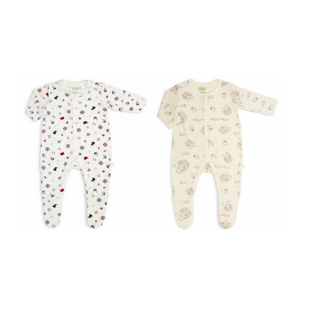 2-pc Pack - Long-sleeved Button Front Sleepsuit with Covered Footie (Noah's Ark / Nautical) - Simply Life