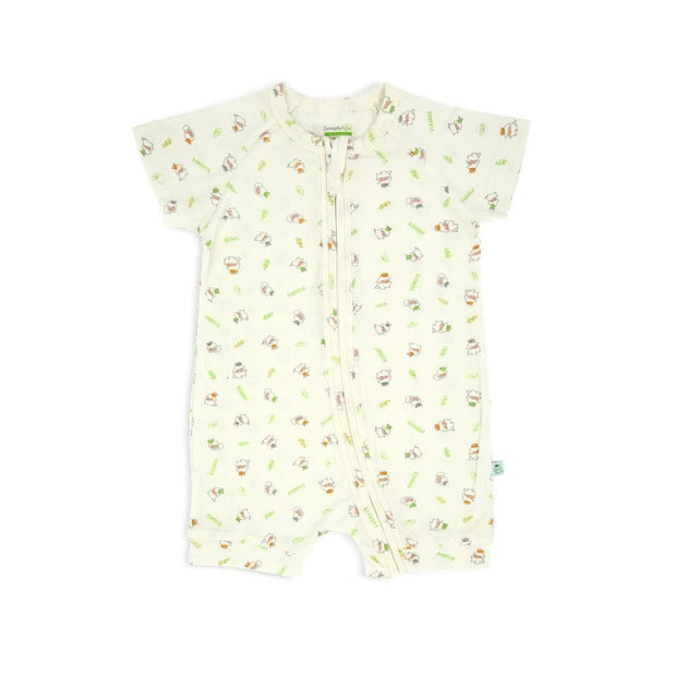 3 Little Lambs Blessed - Short-sleeved Zip-up Shortall by simplylifebaby