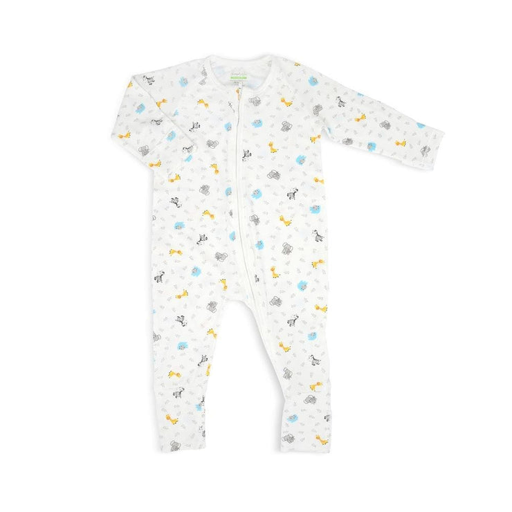 Animals - Long-sleeved Zipper Sleepsuit with Folded Mittens & Footie