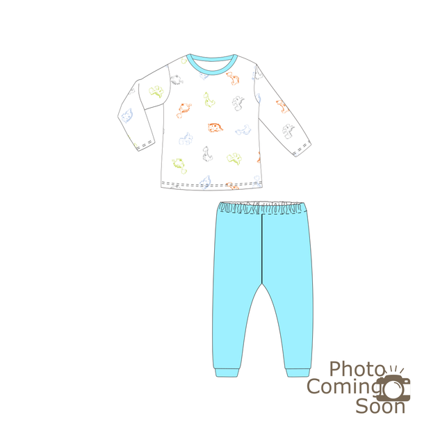 Dinosaurs -  Long-sleeve Pyjamas Set (Turquoise)