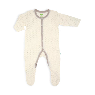 Stars - Long-sleeved Button Front Sleepsuit with Footie