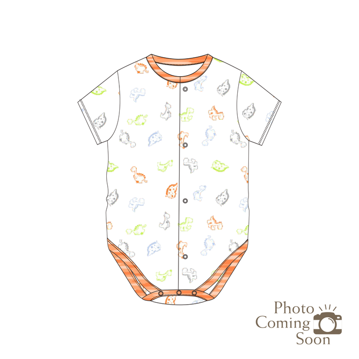 Dinosaurs - Short-sleeved Creeper with Front Buttons (Orange)