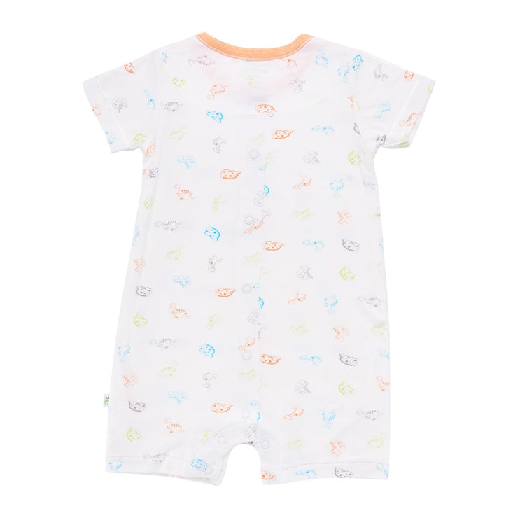 Dinosaurs - Short-sleeved Shortall with Front Buttons (Orange)