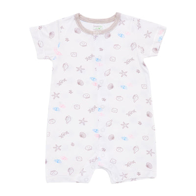 Seashells - Short-sleeved Shortall with Front Buttons