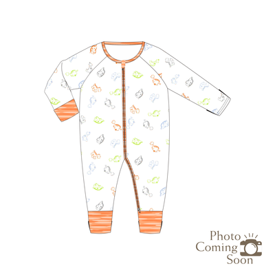 Dinosaurs - Long-sleeved Zipper Sleepsuit with Folded Mittens & Footie (Orange)
