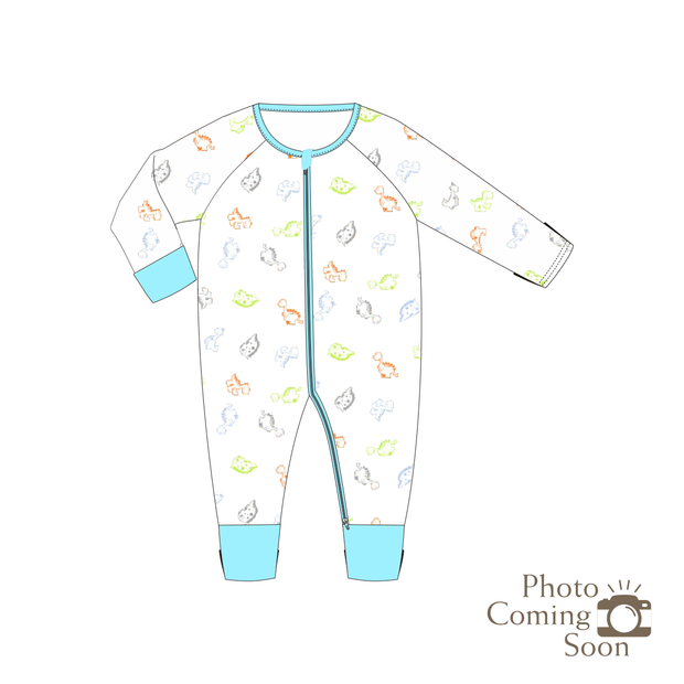 Dinosaurs - Long-sleeved Zipper Sleepsuit with Folded Mittens & Footie (Turquoise)