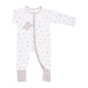Seashells - Long-sleeved Zipper Sleepsuit with Folded Mittens & Footie