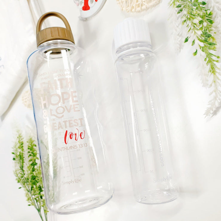 Faith, Hope & Love - 1500 ml Water Bottle with Screw Lid
