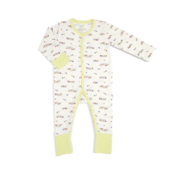 ABC Train - Long-sleeved Button Sleepsuit with Folded Mittens & Footie by simplylifebaby