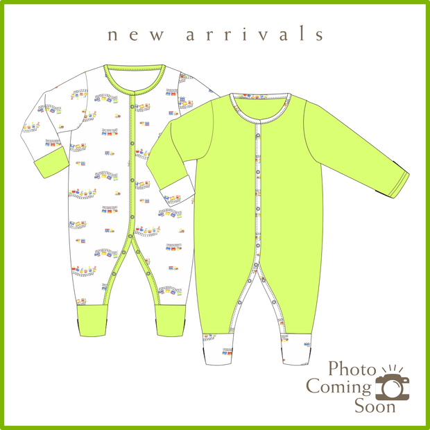 ABC Train - Long-sleeved Button Sleepsuit with Folded Mittens & Footie (Value Pack of 2) by simplylifebaby