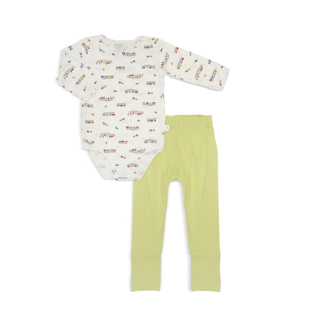 ABC Train - Long-sleeved Stretchy Romper with Folded Footie Pants by simplylifebaby