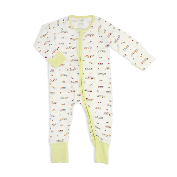 ABC Train - Long-sleeved Zipper Sleepsuit with Folded Mittens & Footie by simplylifebaby