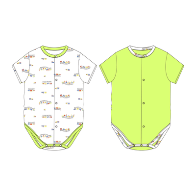 ABC Train - Short-sleeved Creeper with Front Buttons (Value Pack of 2) by simplylifebaby