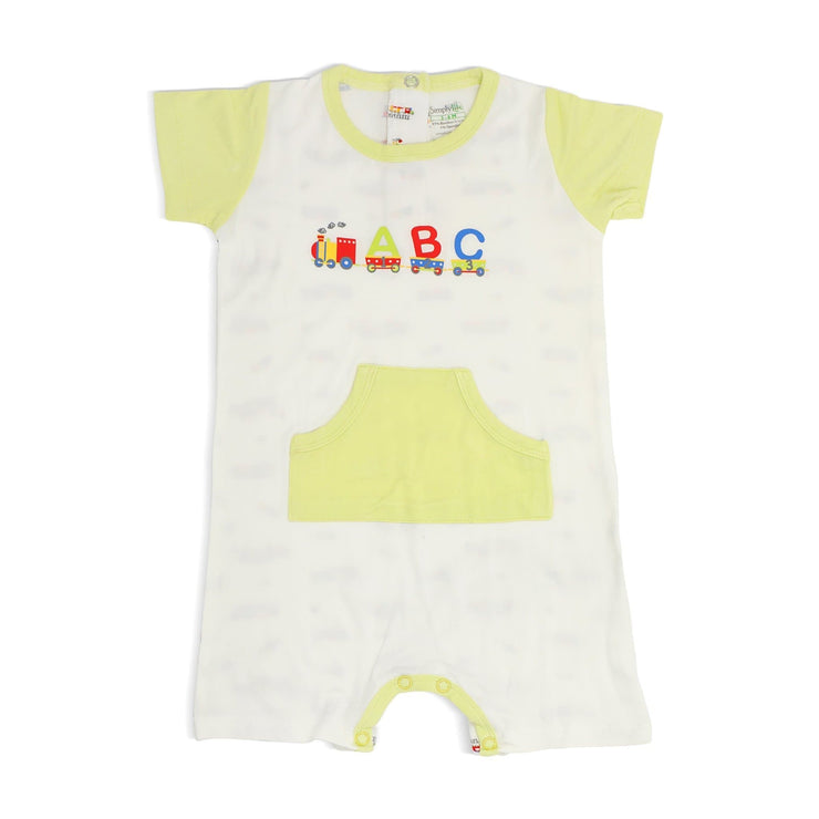 ABC Train - Short-sleeved Shortall with Front Pockets by simplylifebaby