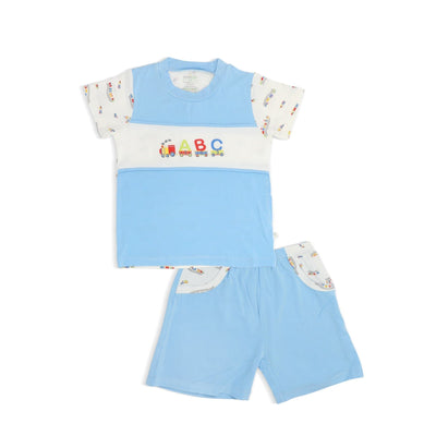 ABC Train - Shorts & Chest-cut Tee Set with Spot Print by simplylifebaby
