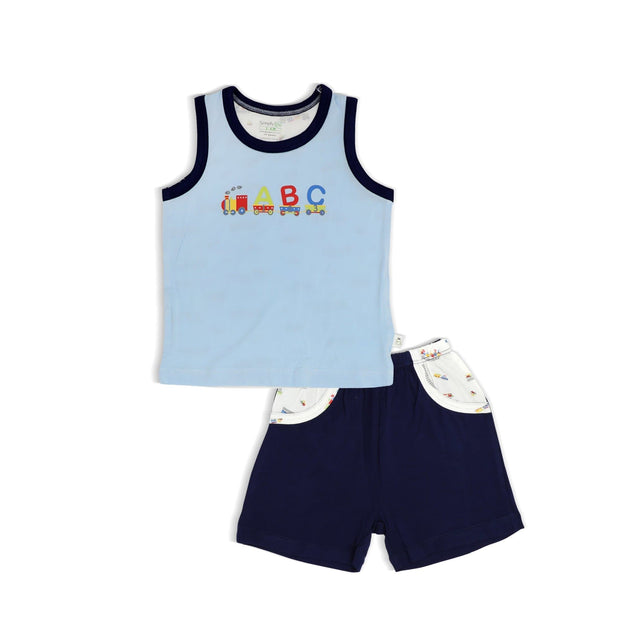 ABC Train - Shorts & Singlet Set by simplylifebaby
