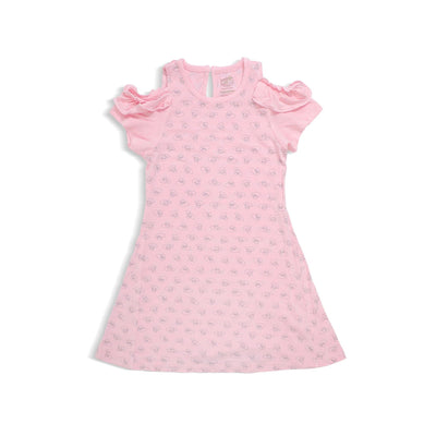 Adorable Lamb - Girls' Round Neck Off-shoulder Dress by simplylifebaby