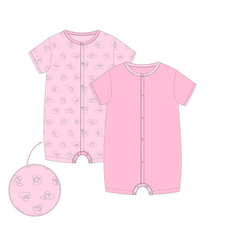 Adorable Lamb - Short-sleeved Shortall with Front Buttons (Value Pack of 2) by simplylifebaby