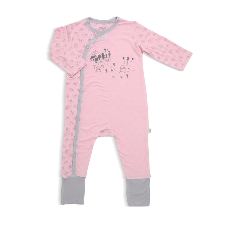 Adorable Lamb - Sleepsuit with Side Snap Button and Spot Print - Folded Footie by simplylifebaby