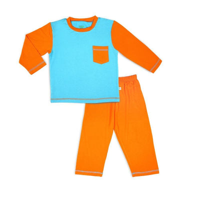 Aqua / Orange - Pyjamas Set by simplylifebaby