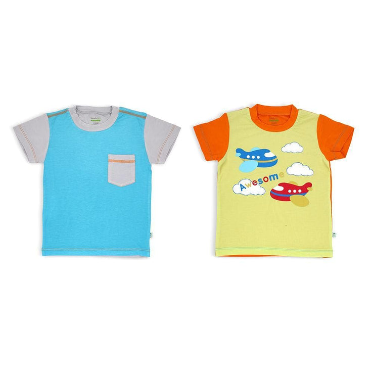 Aqua/Grey & Lime/Orange - Short-sleeved T-shirt (2-Pack Set) by simplylifebaby