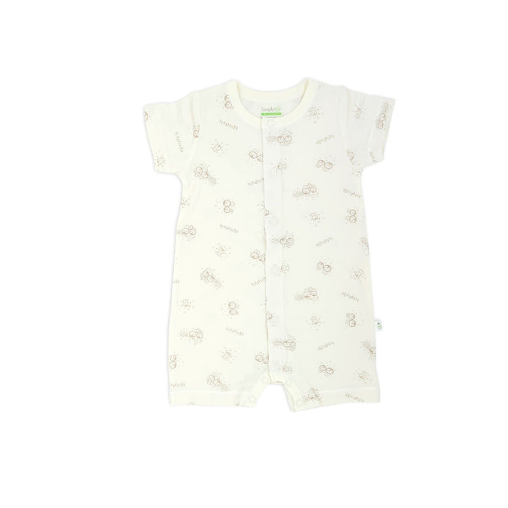 Blessed Penguin - Short-sleeved Shortall with Front Buttons - Simply Life