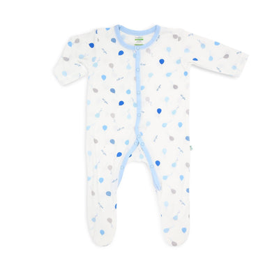 Blue Delight Balloons - Long-sleeved Button Sleepsuit with Footie by simplylifebaby