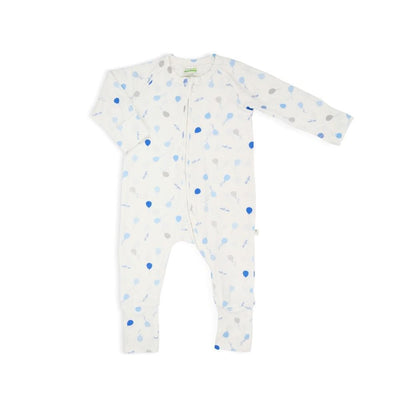 Blue Delight Balloons - Long-sleeved Zipper Sleepsuit with Folded Mittens & Footie by simplylifebaby