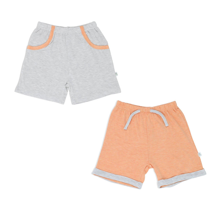 Boys - Shorts with Mocked Pocket/Drawstring (Sandwash Grey & Orange) - Simply Life