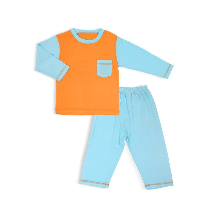 Classic - Long-sleeve Pyjamas Set (Aqua/Orange) - Simply Life