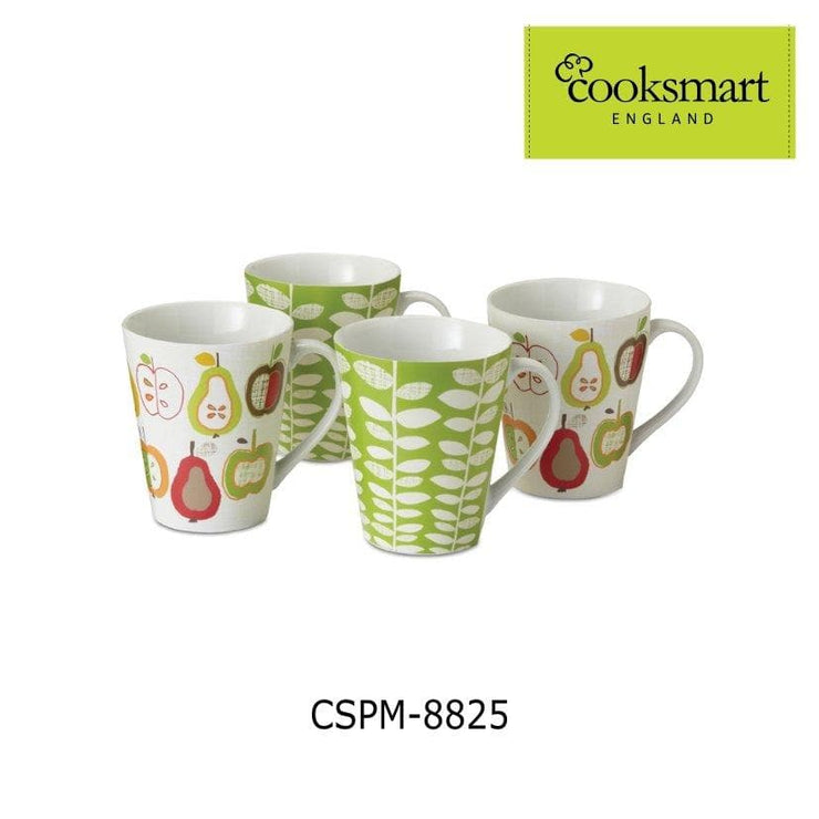 Cooksmart - Apples and Pears Design Porcelain Mugs, Set of 4 - Simply Life
