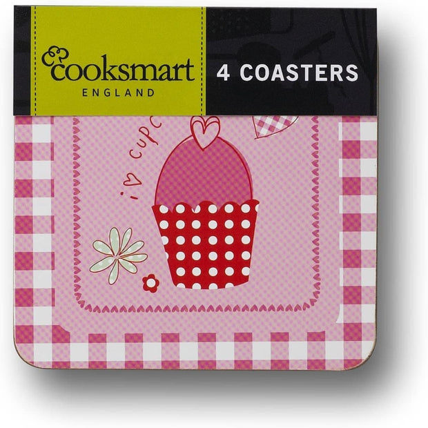 Cooksmart - Pink Cupcake Design Set of 4 Square Cork Coaster - Simply Life