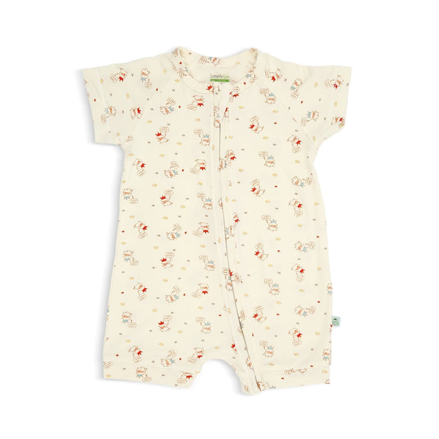 Crowned Lamb - Short-sleeved Zip-up Shortall by simplylifebaby