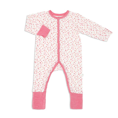 Floral - Long-sleeved Button Sleepsuit with Folded Mittens & Footie - Simply Life