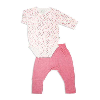 Floral - Long-sleeved Stretchy Romper with Foldable Footie Pants - Simply Life