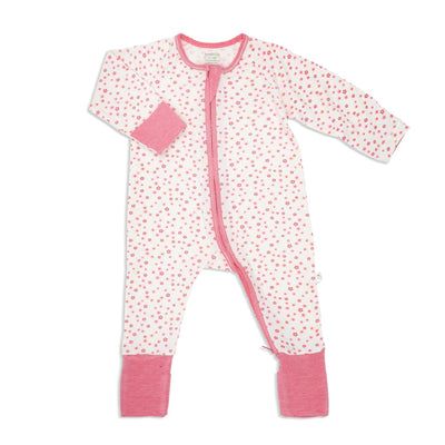 Floral - Long-sleeved Zipper Sleepsuit with Folded Mittens & Footie - Simply Life
