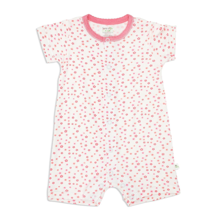 Floral - Short-sleeved Shortall with Front Buttons - Simply Life