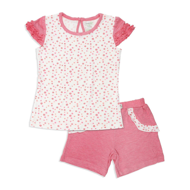 Floral - Short-sleeved Tee with Ruffles & Shorts with Frills (mocked pocket) Kids Set - Simply Life