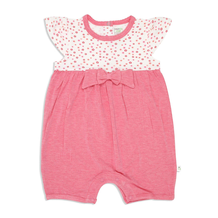 Floral - Shortall cap-sleeved with bow & puffed trims at neckline - Simply Life