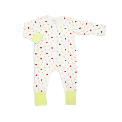 Fruits - Long-sleeved Button Sleepsuit with Folded Mittens & Footie by simplylifebaby