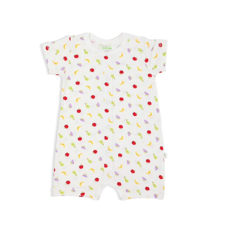 Fruits - Short-sleeved Shortall with Front Buttons by simplylifebaby