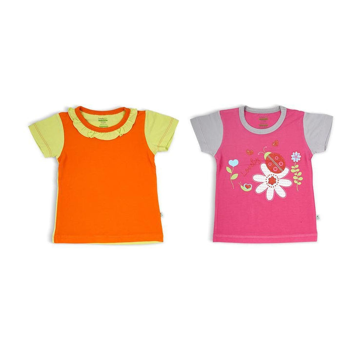 Fuchsia/Grey & Orange/Lime - Short-sleeved T-shirt (2-Pack Set) by simplylifebaby