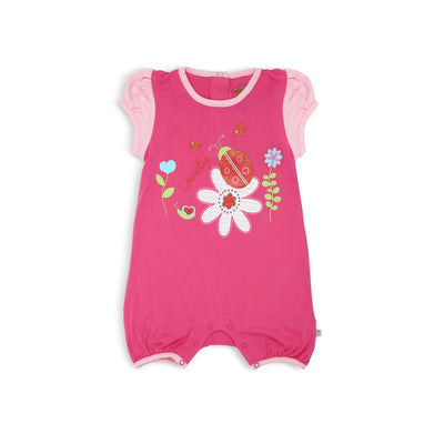 Fuhsia Pink Shortall with Puff Sleeves and Flowers Ladybird Spot Print by simplylifebaby