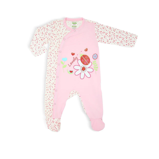 Full of Life (Ladybird) - Side Snap Button Sleepsuit with Footie and Spot Print by simplylifebaby