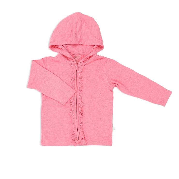 Girls' Jacket with Frilled Zipper (Sandwash Pink) - Simply Life